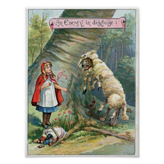 Lil' Red Riding Hood Wolf Sheep Vintage Poster Art