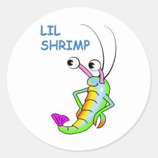 lil shrimp classic round sticker