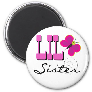 Lil Sister Butterfly Tshirts and Gifts 6 Cm Round Magnet
