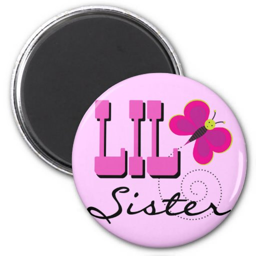 Lil Sister Butterfly Tshirts and Gifts Fridge Magnet