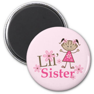 Lil Sister Ethnic Stick Figure Girl 6 Cm Round Magnet