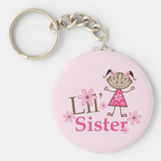 Lil Sister Ethnic Stick Figure Girl Keychain