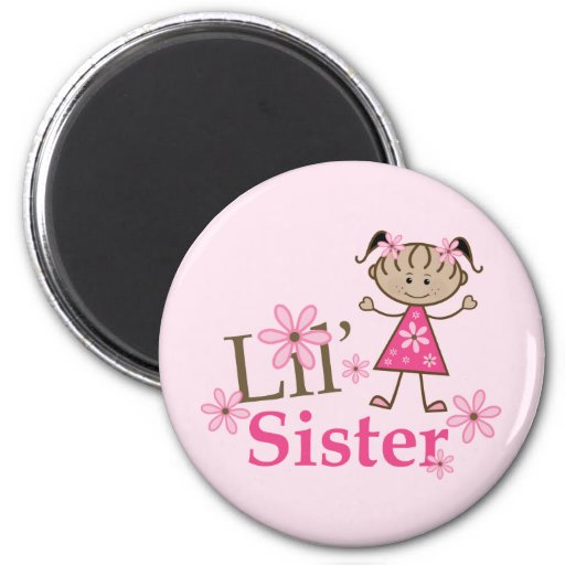 Lil Sister Ethnic Stick Figure Girl Refrigerator Magnets