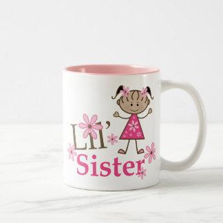 Lil Sister Ethnic Stick Figure Girl Two-Tone Mug