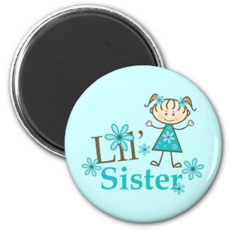 Lil Sister Stick Figure Girl 6 Cm Round Magnet