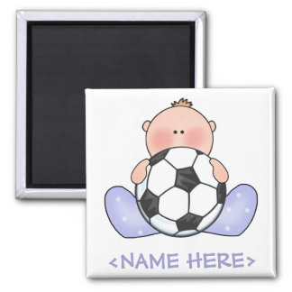 Lil Soccer Baby Boy Square Magnet
