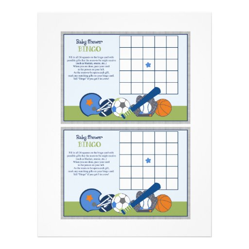 "Lil Sports Player ""Baby Shower Bingo"" sheet Custom Flyer"