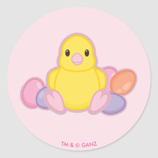 Lil Spring Chick Pattern Classic Round Sticker