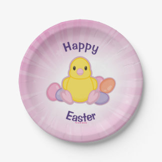 Lil Spring Chick Pattern Paper Plate