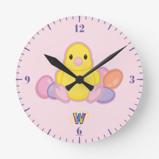 Lil Spring Chick Pattern Round Clock
