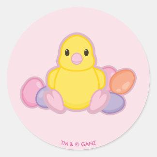 Lil Spring Chick Pattern Round Sticker