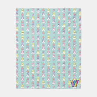 Lil Spring Corgi Pattern Fleece Blanket