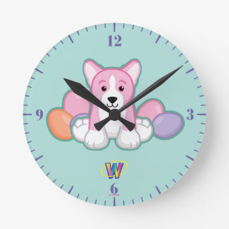 Lil Spring Corgi Pattern Round Clock