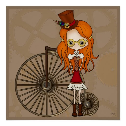 'Lil Steampunk Girl with Penny Farthing Bicycle Print