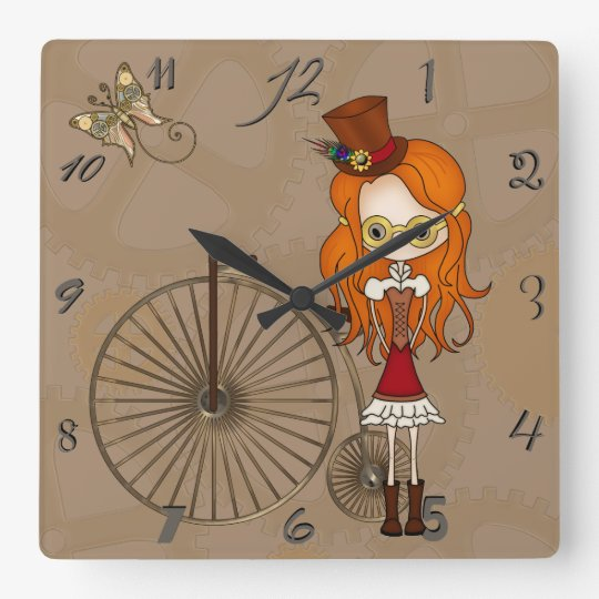 'Lil Steampunk Girl with Penny Farthing Bicycle Square