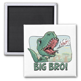 Lil' T Rex Big Bro Older Brother Gear Square Magnet