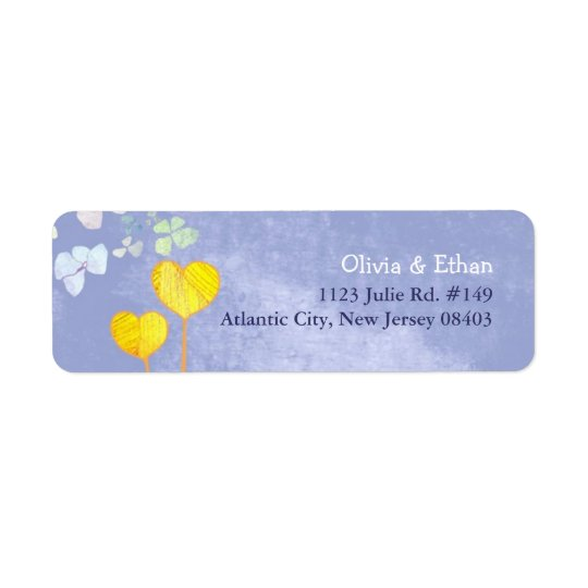 Lil Two Hearts Rustic Blue Wedding Return Address Label