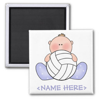 Lil Volleyball Baby Boy Square Magnet