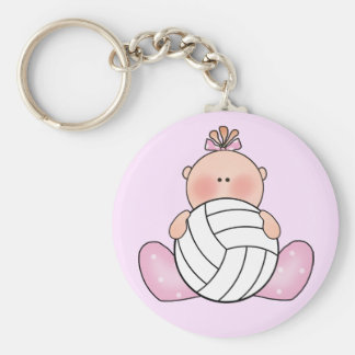 Lil Volleyball Girl Basic Round Button Key Ring