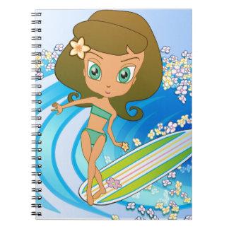 Lil' Wahine Wave Writer Spiral Notebooks