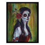 Lila day of the dead poster print by Renee Lavoie