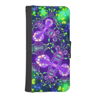 Lilac and Blue Butterfly Fractal iPhone SE/5/5s Wallet Case