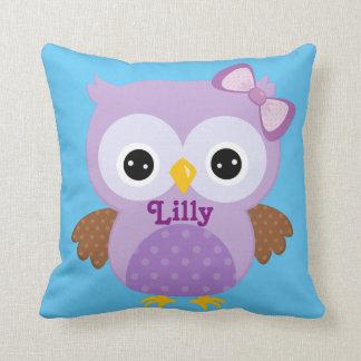 Lilac and Blue Owl Baby Keepsake Cushion