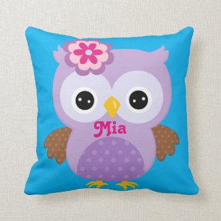 Lilac and Blue Owl Keepsake Cushion Baby Gift