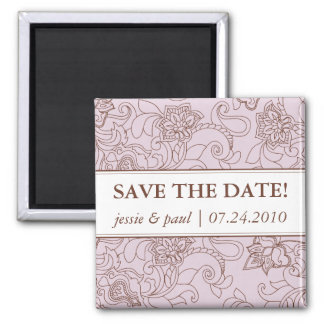 Lilac and Brown Paisley Save the Date Magnet