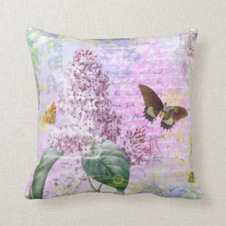 Lilac and Butterfly Vintage Paris Cushion