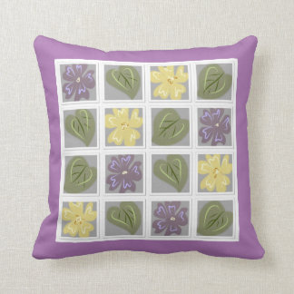 Lilac and Green Leaves Cushion