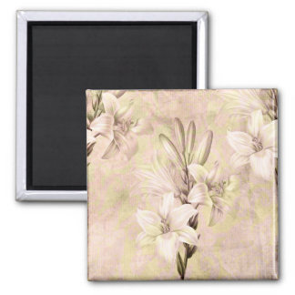 Lilac and Lime Lilies Square Magnet