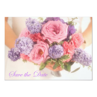Lilac and Pink Bouquet Save The Date Announcement