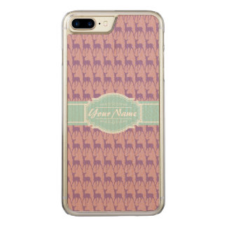 Lilac and Pink Deer, Mint Name Carved iPhone 8 Plus/7 Plus Case