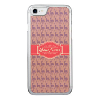 Lilac and Pink Deer, Name Carved iPhone 8/7 Case