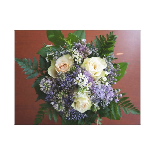 Lilac and Rose Wedding Bouquet Gallery Wrapped Canvas
