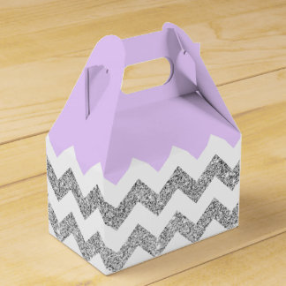 Lilac and Silver Faux Glitter Chevron Wedding Favour Boxes