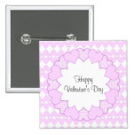 Lilac and white cute hearts and lilac frame 15 cm square badge