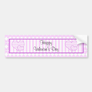 Lilac and white cute hearts and stripes car bumper sticker