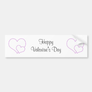 Lilac and white cute hearts car bumper sticker