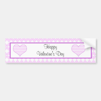 Lilac and white cute hearts bumper sticker