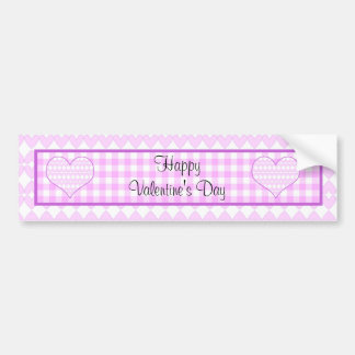 Lilac and white cute hearts on plaid background car bumper sticker