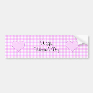 Lilac and white cute hearts on plaid background bumper sticker