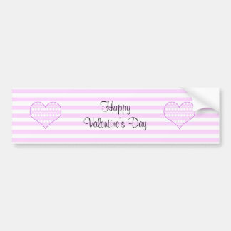 Lilac and white cute hearts on striped background car bumper sticker