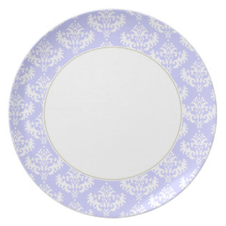 Lilac and white damask plate