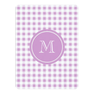 "Lilac and White Gingham, Your Monogram 6.5"" X 8.75"" Invitation Card"