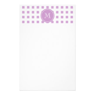 Lilac and White Gingham, Your Monogram Stationery
