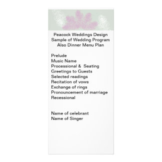Lilac and White Peacock Feathers   Wedding Program Rack Card Template