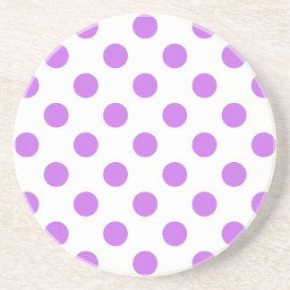 Lilac and white polka dots drink coasters