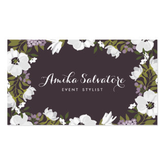 Lilac Anemone Blooms Personalized Floral Pack Of Standard Business Cards